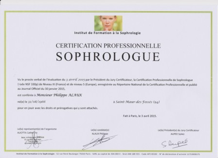 CERTIFICATION PROFESSIONNELLE SOPHROLOGUE RNCP 001